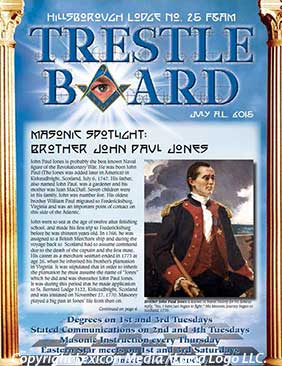 July 2015 Hillsborough Lodge 25 Trestle Board
