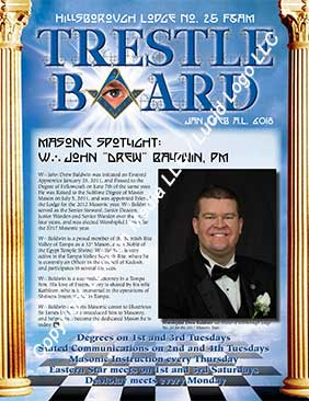Hillsborough Lodge No. 25 Trestle Board Cover January and February 2018